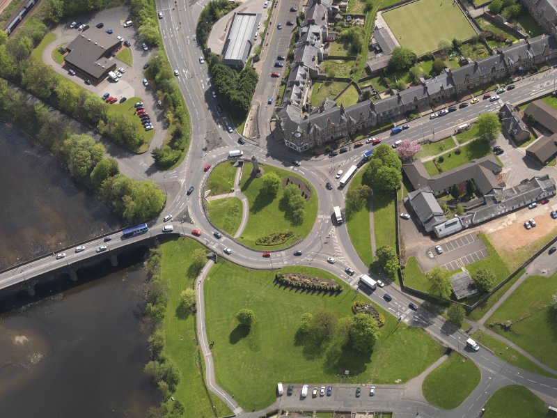 Oblique aerial view of the Customs Roundabout, taken from the E.