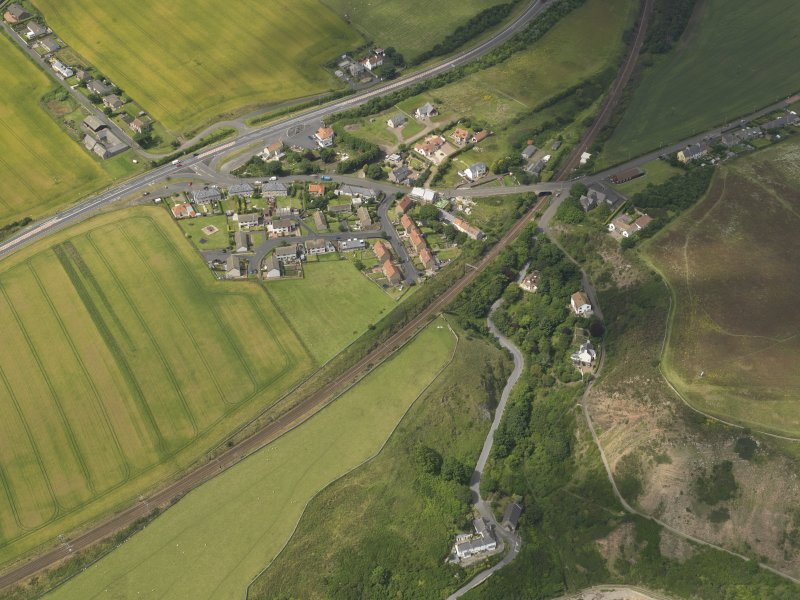 Oblique aerial view of Burnmouth village, taken from the ESE.