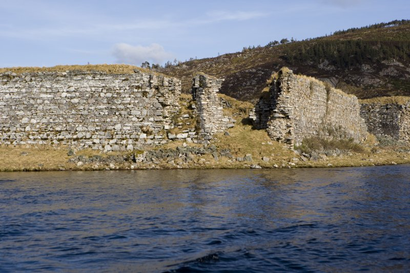 SW turret and guard robe, view from loch to SW