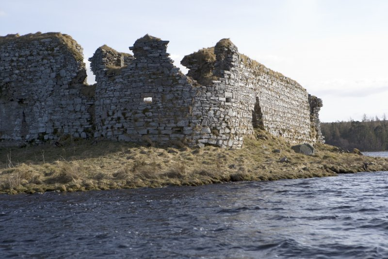NW turret and W wall, view from loch to N