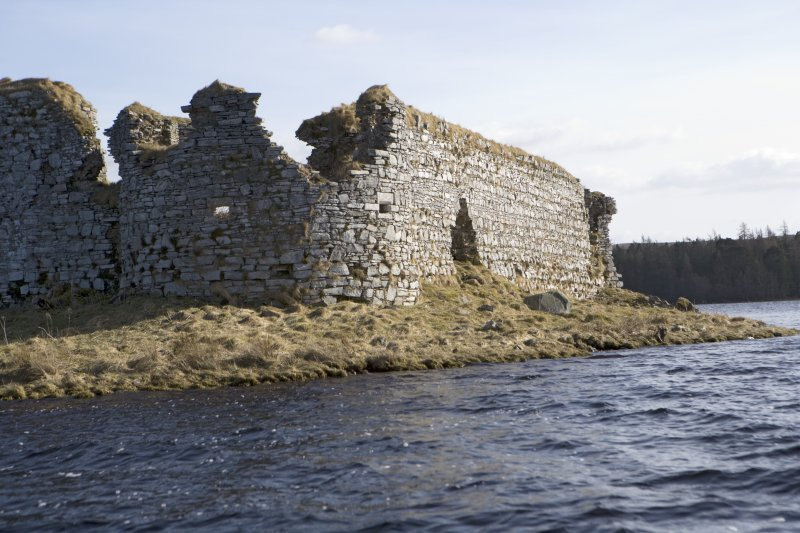 NW turret and W wall, view from loch to NW
