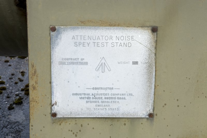Detail of makers plate on Spey engine test bed structure.