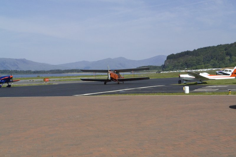 de Havilland DH87B Hornet Moth (G-ADNE) preparing for take-off at Oban Airport (North Connel). Aircraft formerly owned by Ted Fresson.