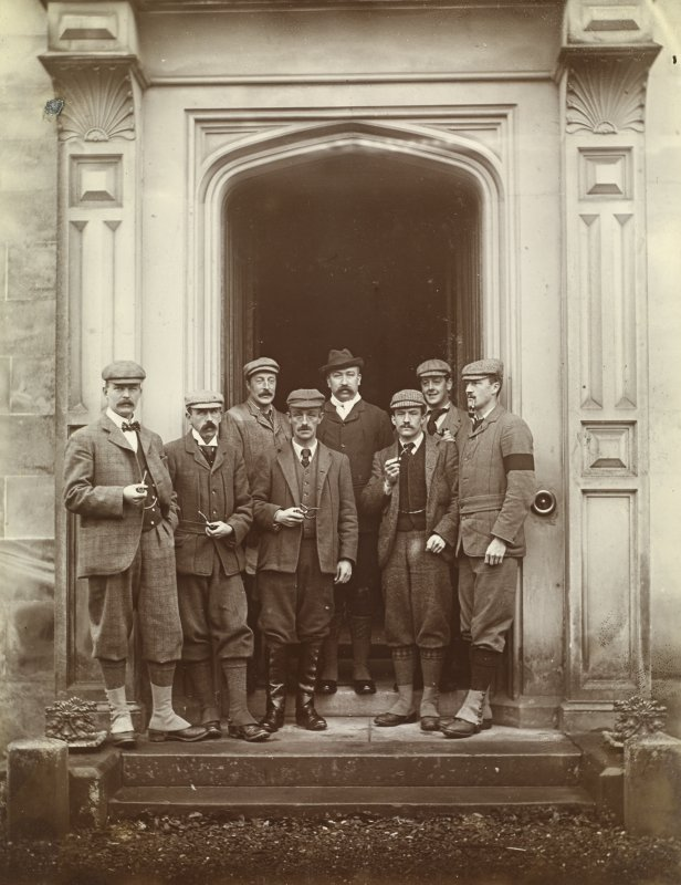 View of a group of 'the unemployed' outside the front entrance of St Fort House.