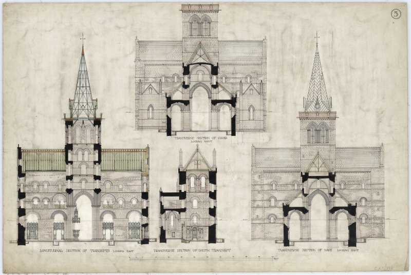 Drawing showing section, St Magnus Cathedral, Kirkwall.