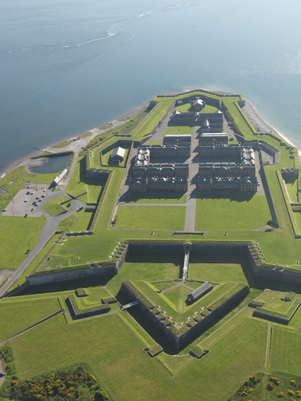 Oblique aerial view of Fort George, taken from the ENE.