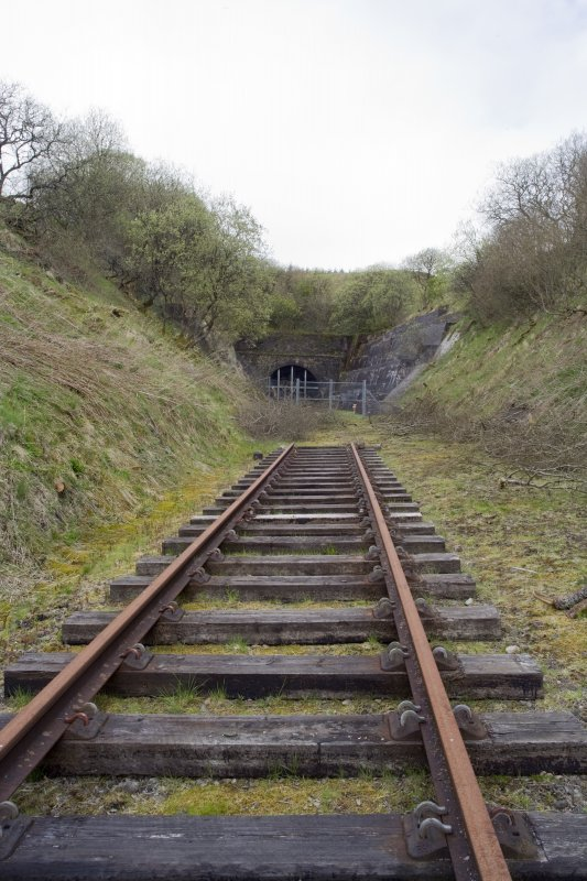 View from S of Whitrope railway tunnel mouth, S entrance.  Relaid railway track as part of Heritage Centre.
