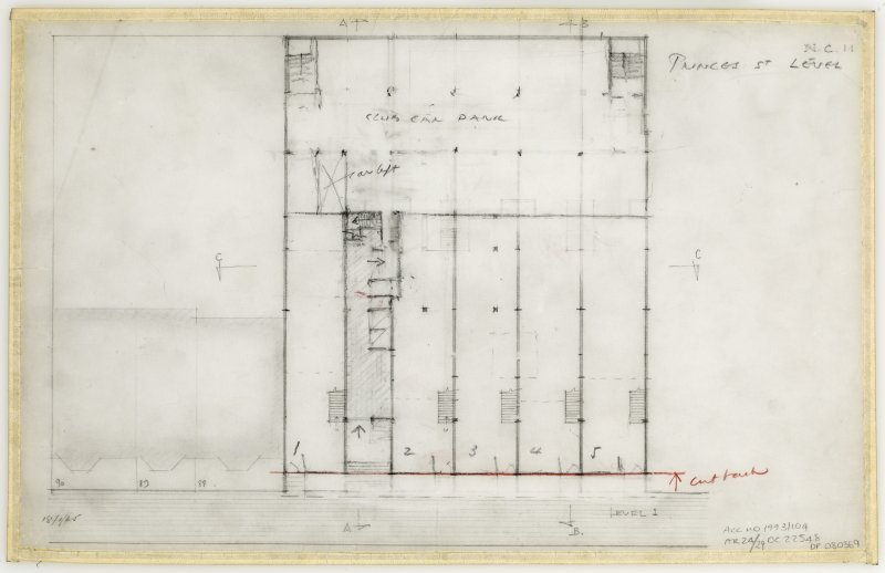 86 Princes Street, New Club. Plan of level 1. Titled: 'Princes Street level.' Insc: 'Level 1'  'N.C. 11.'
