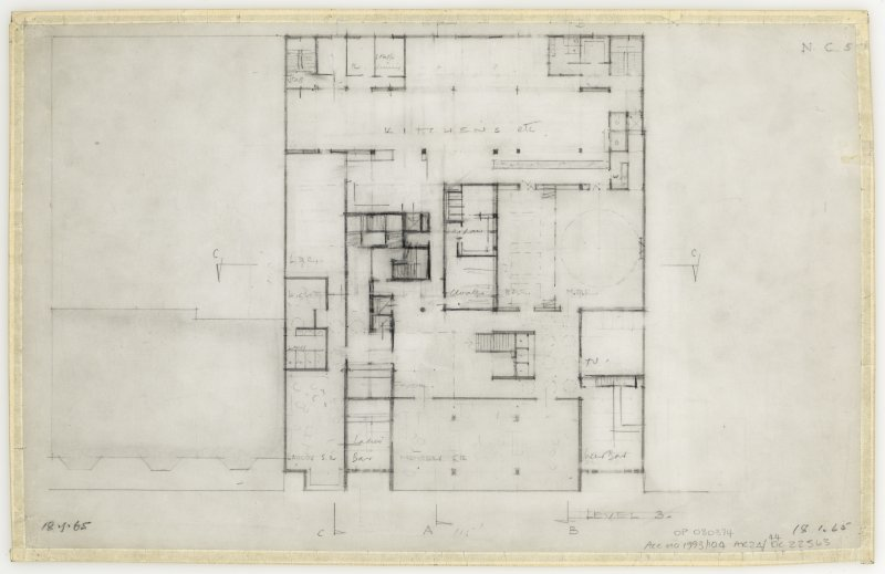 86 Princes Street, New Club. Plan of level 3. Insc: 'Level 3'  'N.C. 5.'