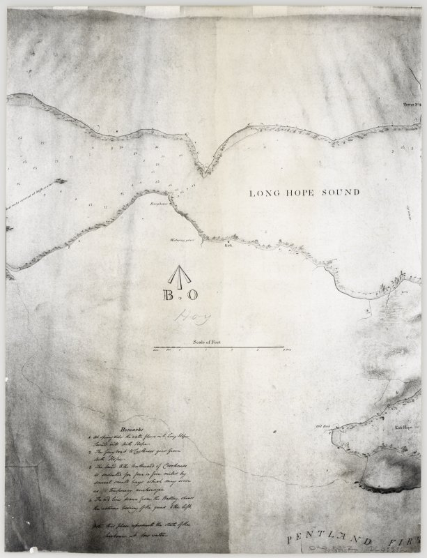 Part of a map of Long Hope Sound, with remarks relating to tides and anchorages.