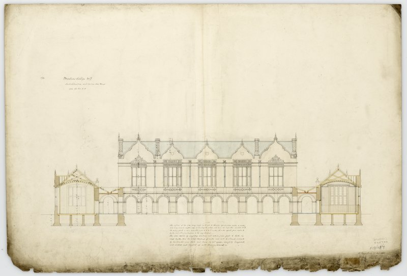 S.elevation & section thro' wings. With measurements (Wm.Burn) 131 George St.Edin.1831