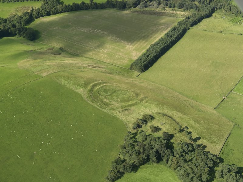 Oblique aerial view of Henderland Hill fort, taken from the SE.