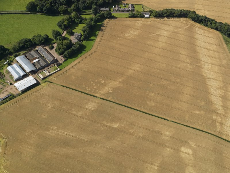 Oblique aerial view of the cropmarks of the pits, barrow, enclosure and field drain, with the barrow and track beyond, taken from the ENE.