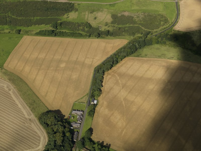 Oblique aerial view of the cropmarks of the field boundaries and pits, with the barrows, enclosure, track and field drain adjacent, taken from the SSE.