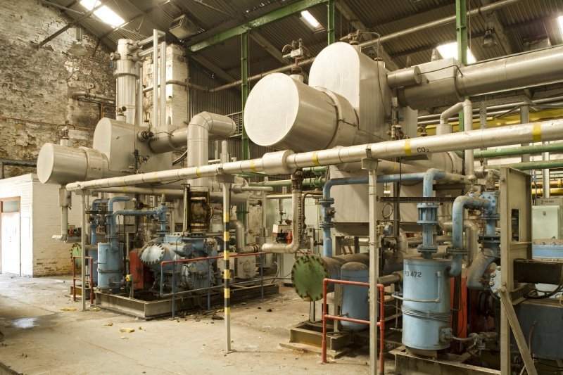 Interior. Carbon Dioxide (CO2) plant, view from E. Scrubbers which purify the gas.