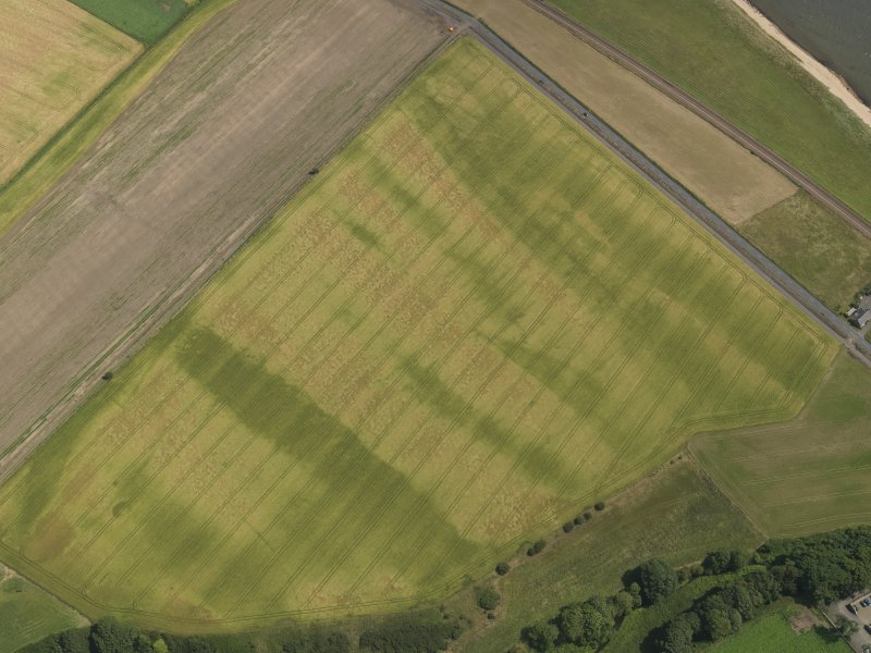 Oblique aerial view of the cropmarks of the barrow and possible field boundary, taken from the NW.