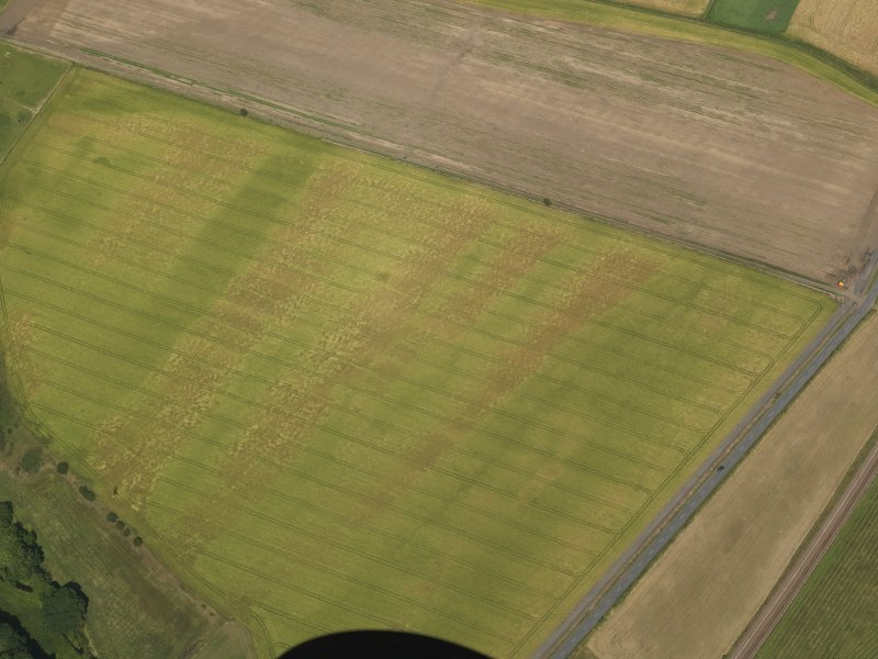 Oblique aerial view of the cropmarks of the barrow and possible field boundary, taken from the SW.