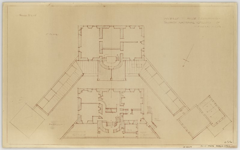 Inverleith House, Scottish National Gallery of Modern Art. Plan of basement and first floor. Title: Inverleith House : Edinburgh Scottish National Gallery of Modern Art'.