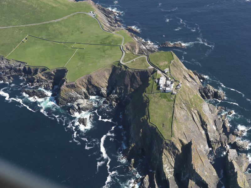Oblique aerial view of the Sumburgh Head lighthouse, taken from the WSW.