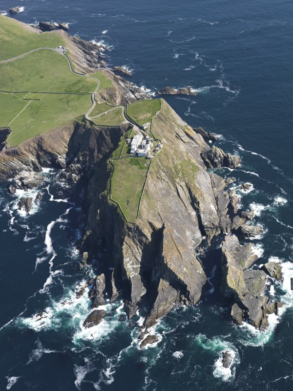 Oblique aerial view of the Sumburgh Head lighthouse, taken from the SW.