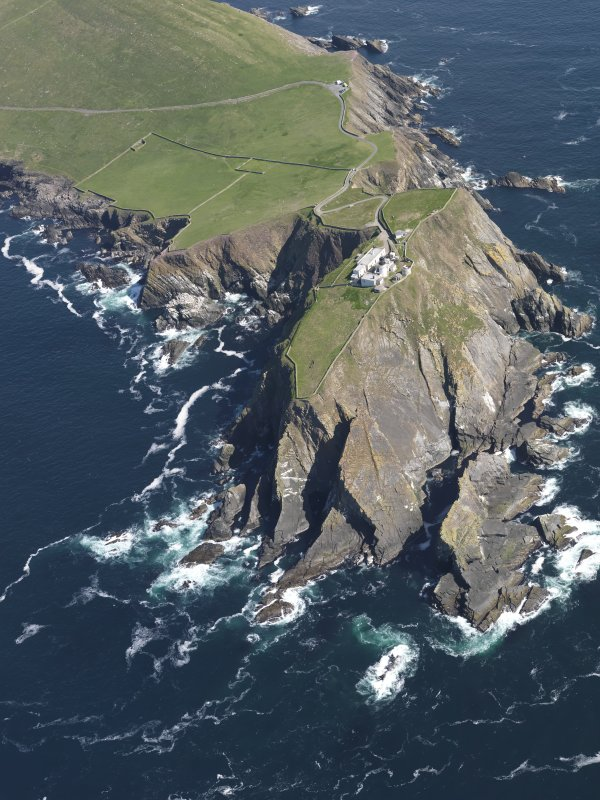 Oblique aerial view of the Sumburgh Head lighthouse, taken from the SSW.