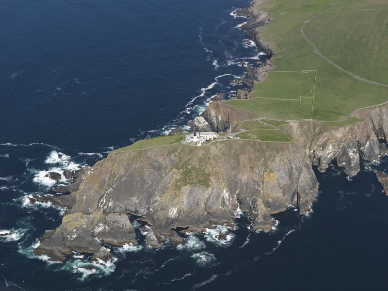 Oblique aerial view of the Sumburgh Head lighthouse, taken from the SSE.