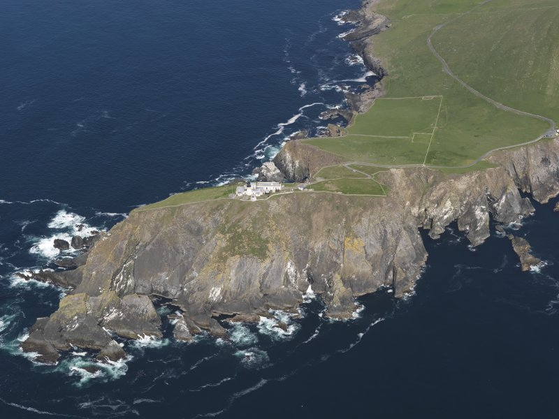 Oblique aerial view of the Sumburgh Head lighthouse, taken from the SE.