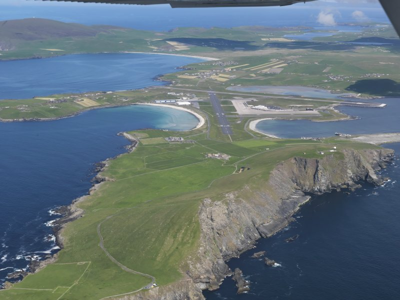 General oblique aerial view of Sumburgh Airport, taken from the SE.