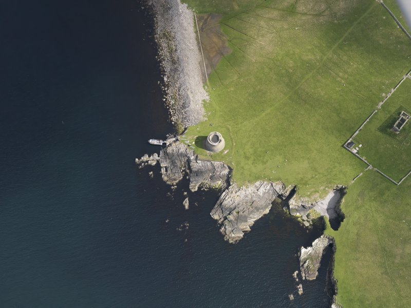 Oblique aerial view centred on the Broch of Mousa, taken from the SW.