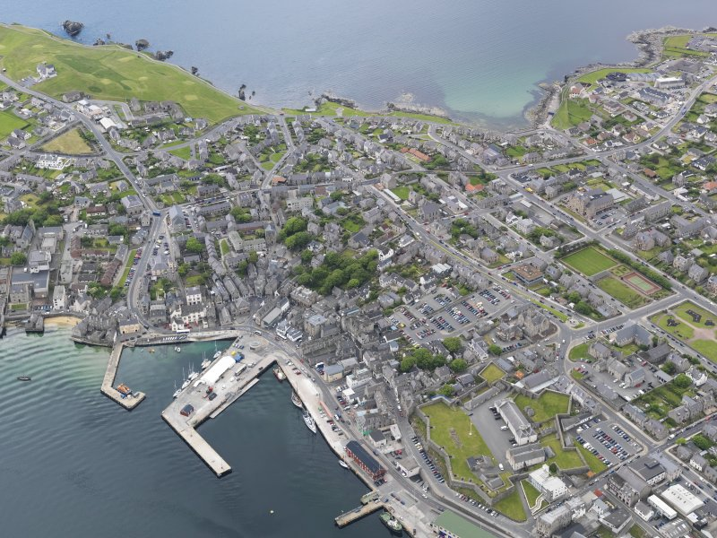 Oblique aerial view of Lerwick, looking to the SSW.