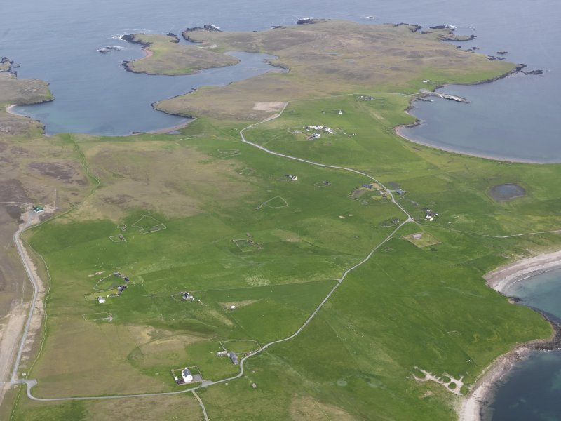 Oblique aerial view of The Biggings, Papa Stour, looking NE.