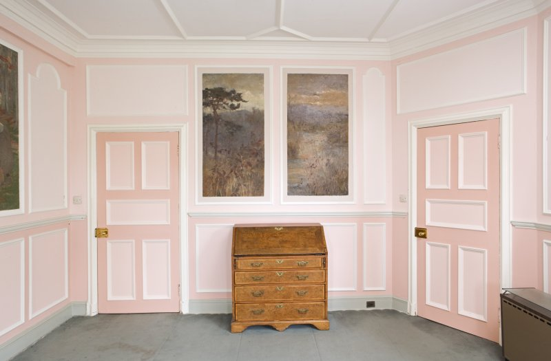 Interior. View of the west wall of the rear drawing room, with Patrick Geddes' writing desk to centre