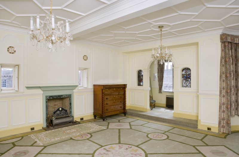 Interior. View looking into the south east corner of the main drawing room, including fireplace and boudoir screen