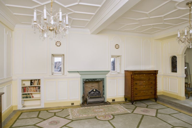 Interior. View of east wall of main drawing room, with fireplace and flanking openings