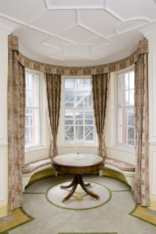 Interior. View looking into the window seat within the south west corner turret of the main drawing room