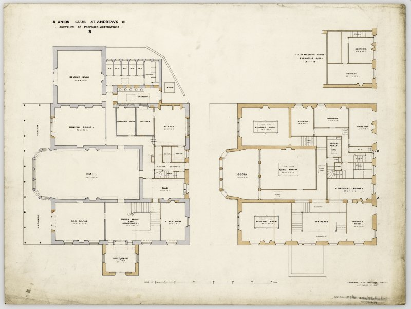 Floor plans for the Royal and Ancient Club House, St Andrews Titled: 'Sketches of proposed alterations'.  Not carried out.
