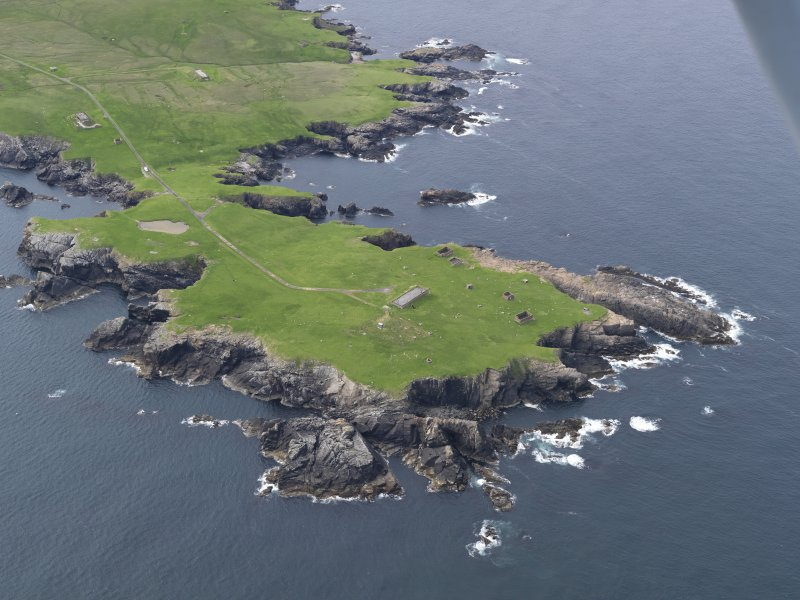 Oblique aerial view of The Garths Chain Home Radar Station, looking NW.