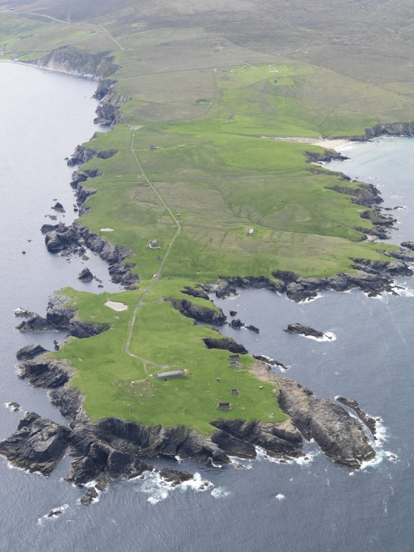General oblique aerial view of The Garths Chain Home Radar Station, looking W.