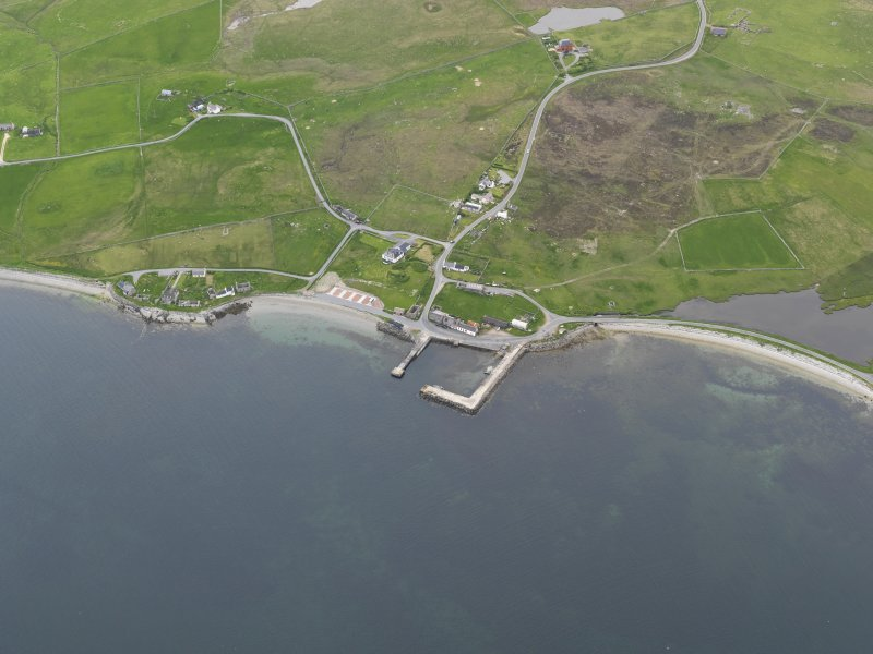 Oblique aerial view of Uyeasound, looking NW.