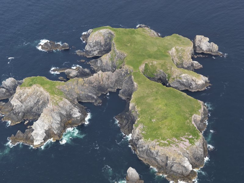 Oblique aerial view of Gloup Holm, looking ENE.