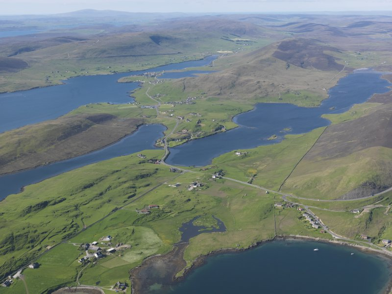 General oblique aerial view of Loch of Strom with Weisdale Voe beyond, looking N.