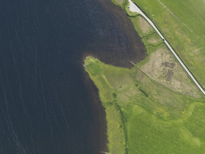 Oblique aerial view centred on the Law Ting Holm, looking SW.