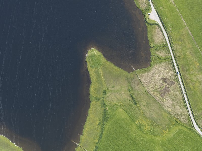 Oblique aerial view centred on the Law Ting Holm, looking SSW.