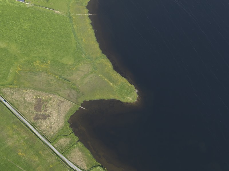 Oblique aerial view centred on the Law Ting Holm, looking E.
