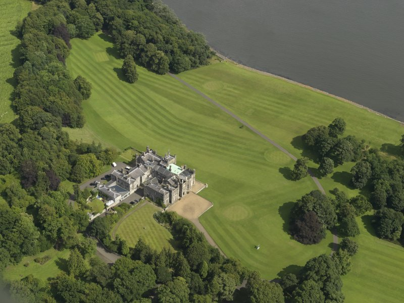Oblique aerial view of Dalmeny House, taken from the SSW.