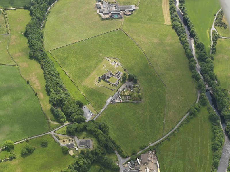 Oblique aerial view of Glenluce Abbey, taken from the N.