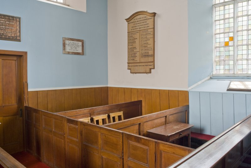 Interior. NE Corner. Box pews. Detail