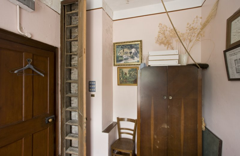 Interior. Vestry. Built in Tower stepladder. Detail