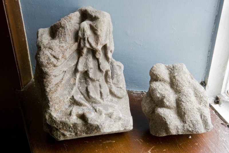 Interior. Vestry. Stone fragments. Detail