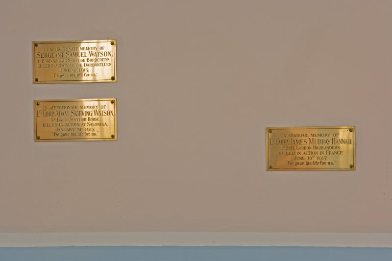 Interior. Brass memorials. Detail